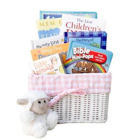 christening gift basket, baptism gift basket