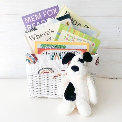 animal friends gift basket, animal books for kids