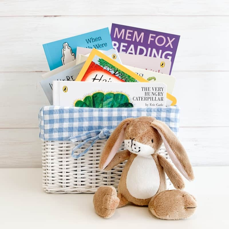 babys first library gift basket blue, best books for babies