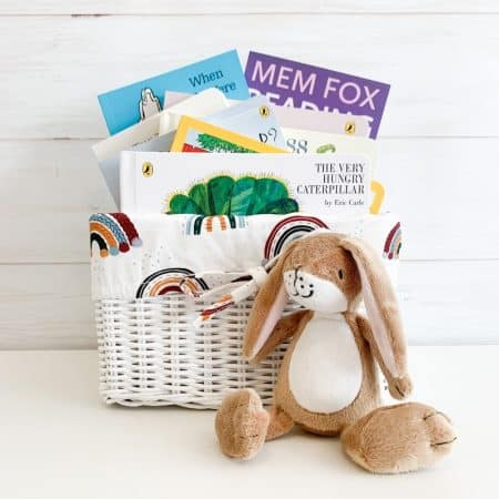babys first library gift basket boho rainbows, best books for babies